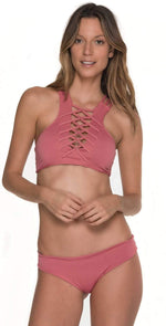 Malai Awe Fishbone High Neck Top in Rośe T00326-RSE: