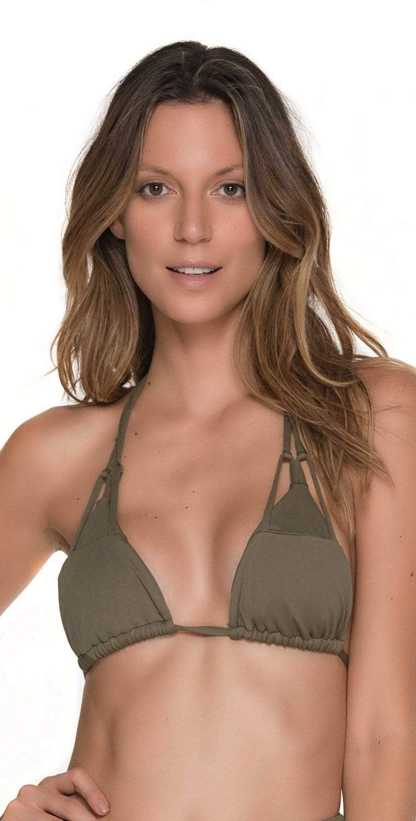 Malai Must Fishbone Triangle Top In Army Green  T00371-ARMY Front Top