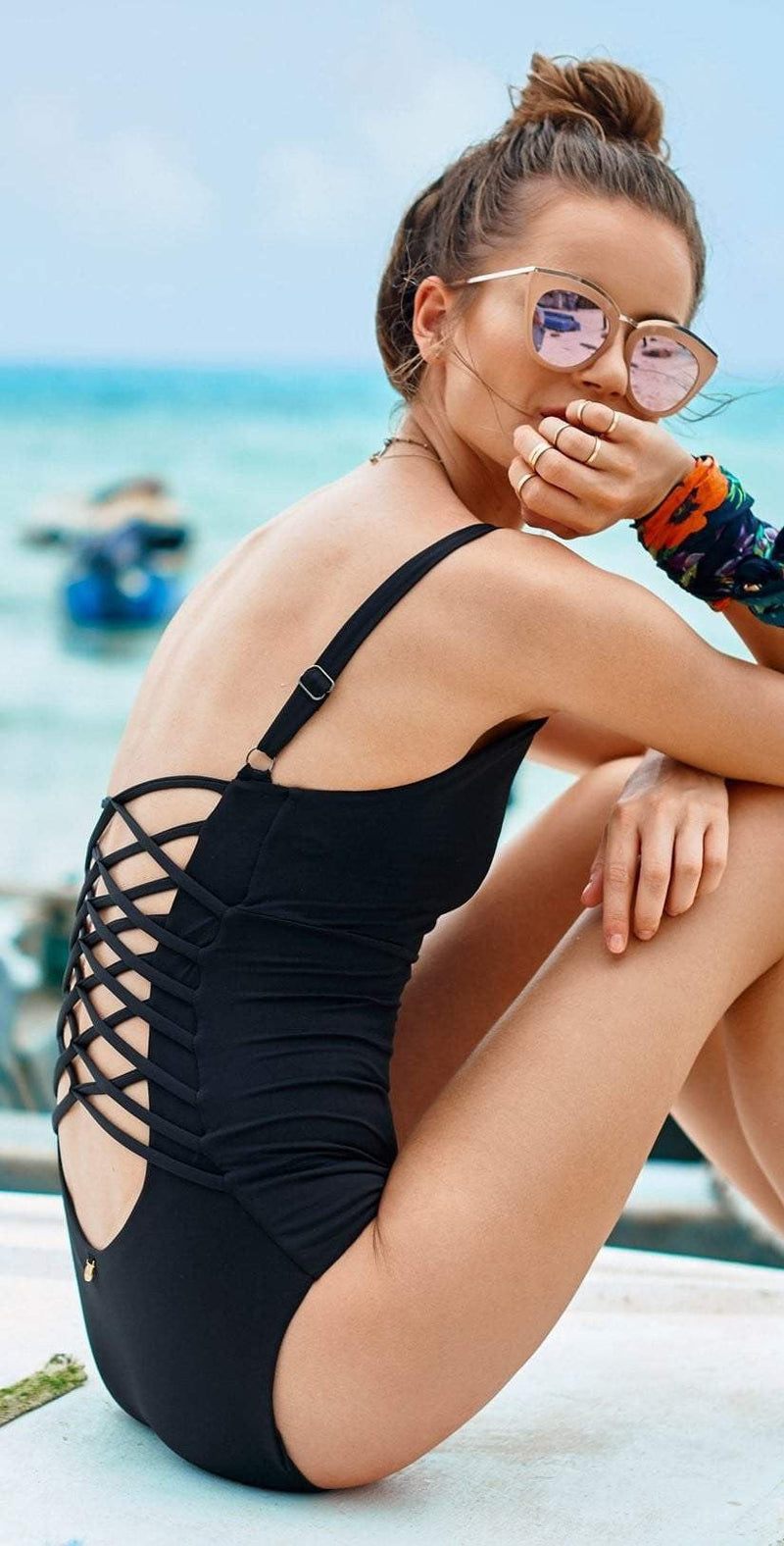 Malai Chief Fishbone One Piece in Black OP0084-BLK: