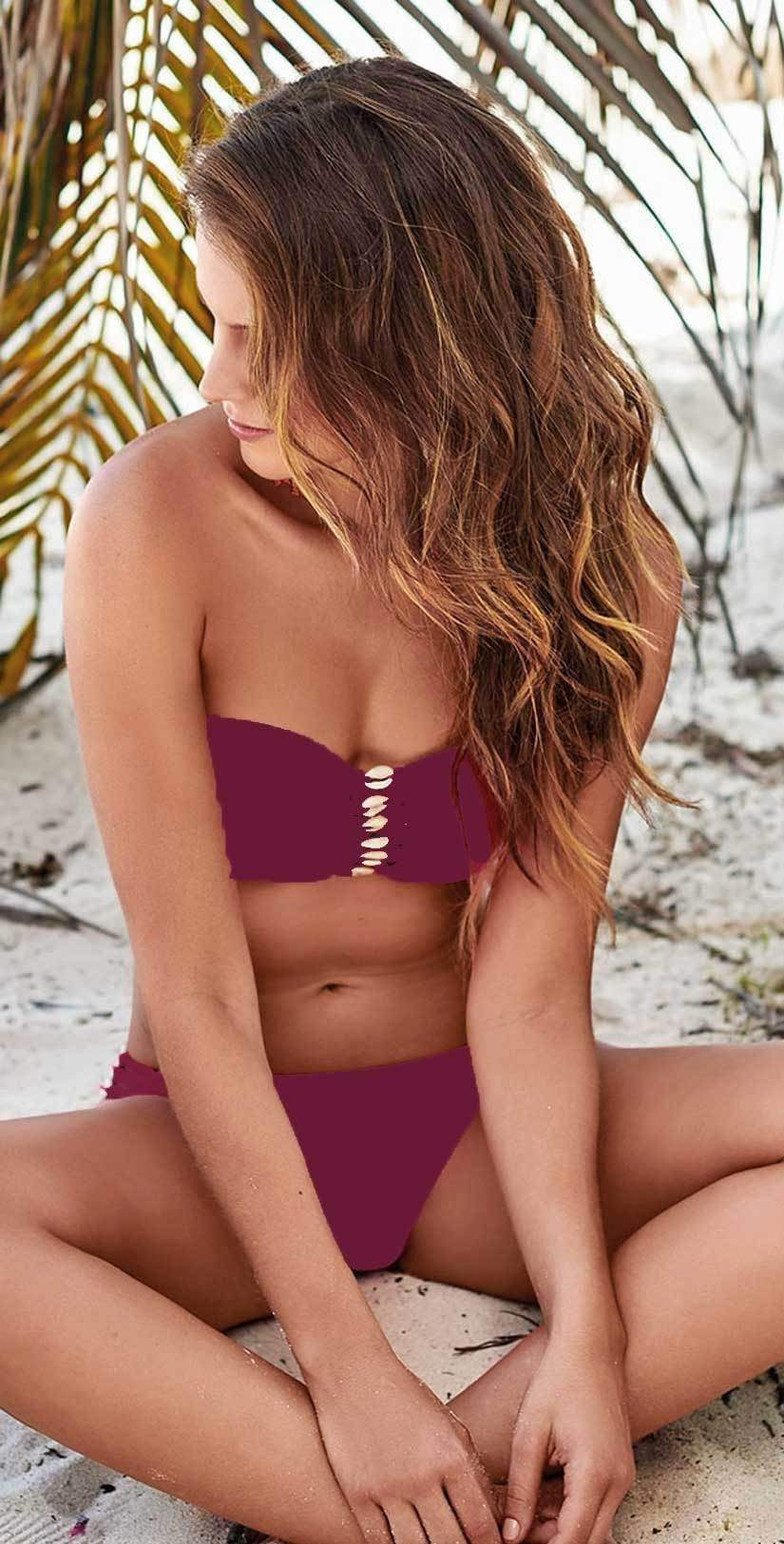 Milonga basic wine bandeau shell bikini