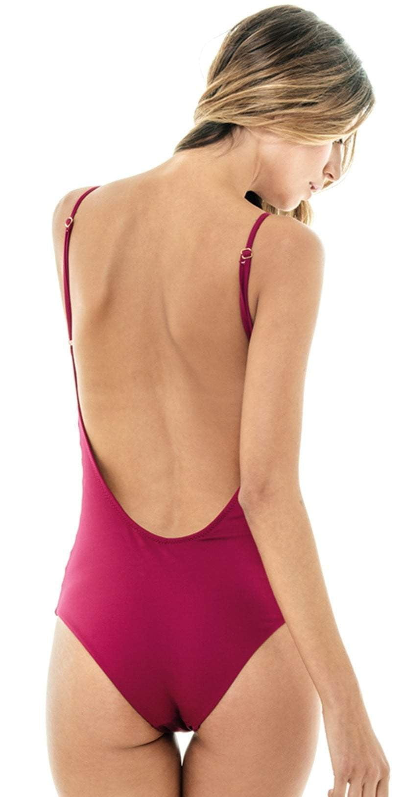 MIlonga Side Cut Out One Piece in Wine 068: