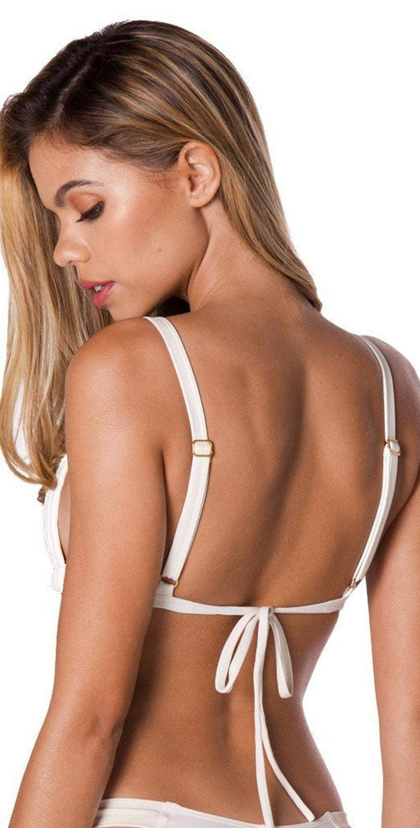Montce Palmilla Blanco Prima Top in Ivory back studio