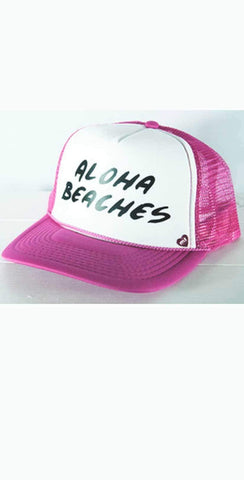 Mother Trucker Aloha Beaches Hat In Pink