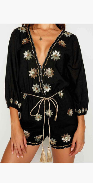 Beach Bunny Myra Romper in Black: