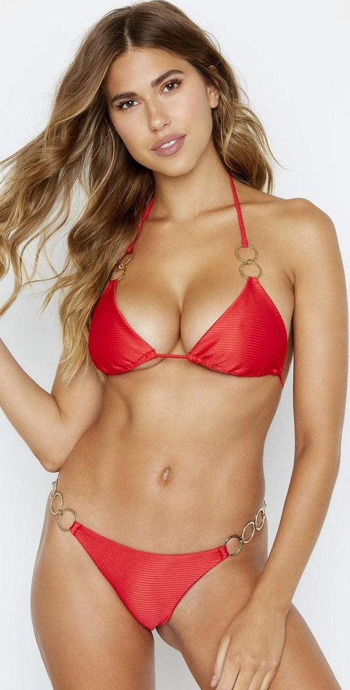 Beach Bunny Nadia Triangle Top in Red B19147T2 REDD front view