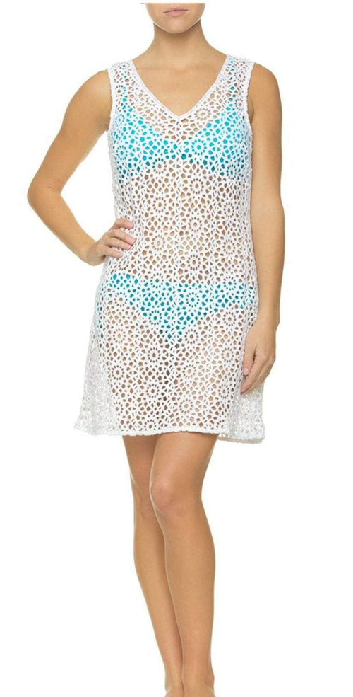 Helen Jon  Sleeveless Dress HJ10-0732WTS front view with blu bikini