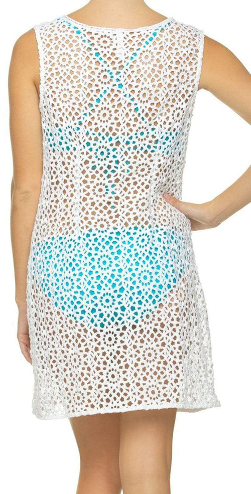 Helen Jon Sleeveless Dress HJ10-0732WTS back view with blue bikini