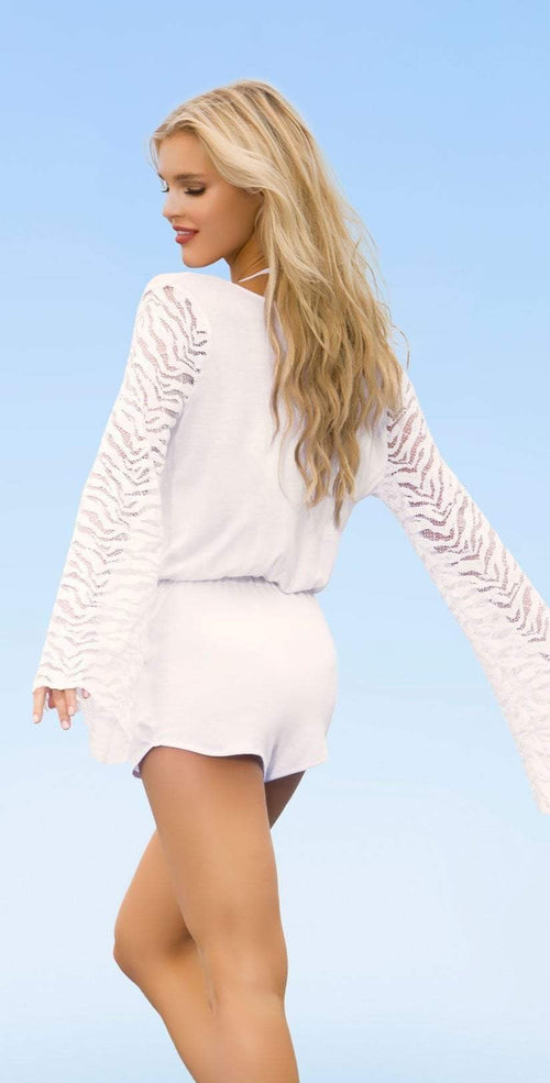Lady Lux Pillow Talk White Lace Romper LL219RW:
