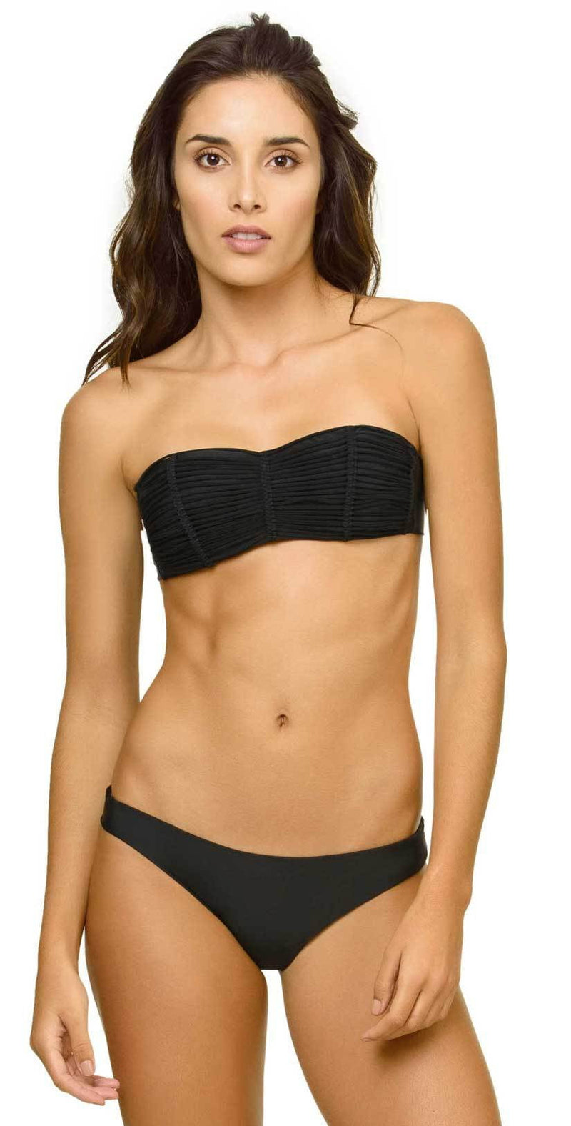 PilyQ Midnight Gold Isla Bandeau Top in Black MID-156B: