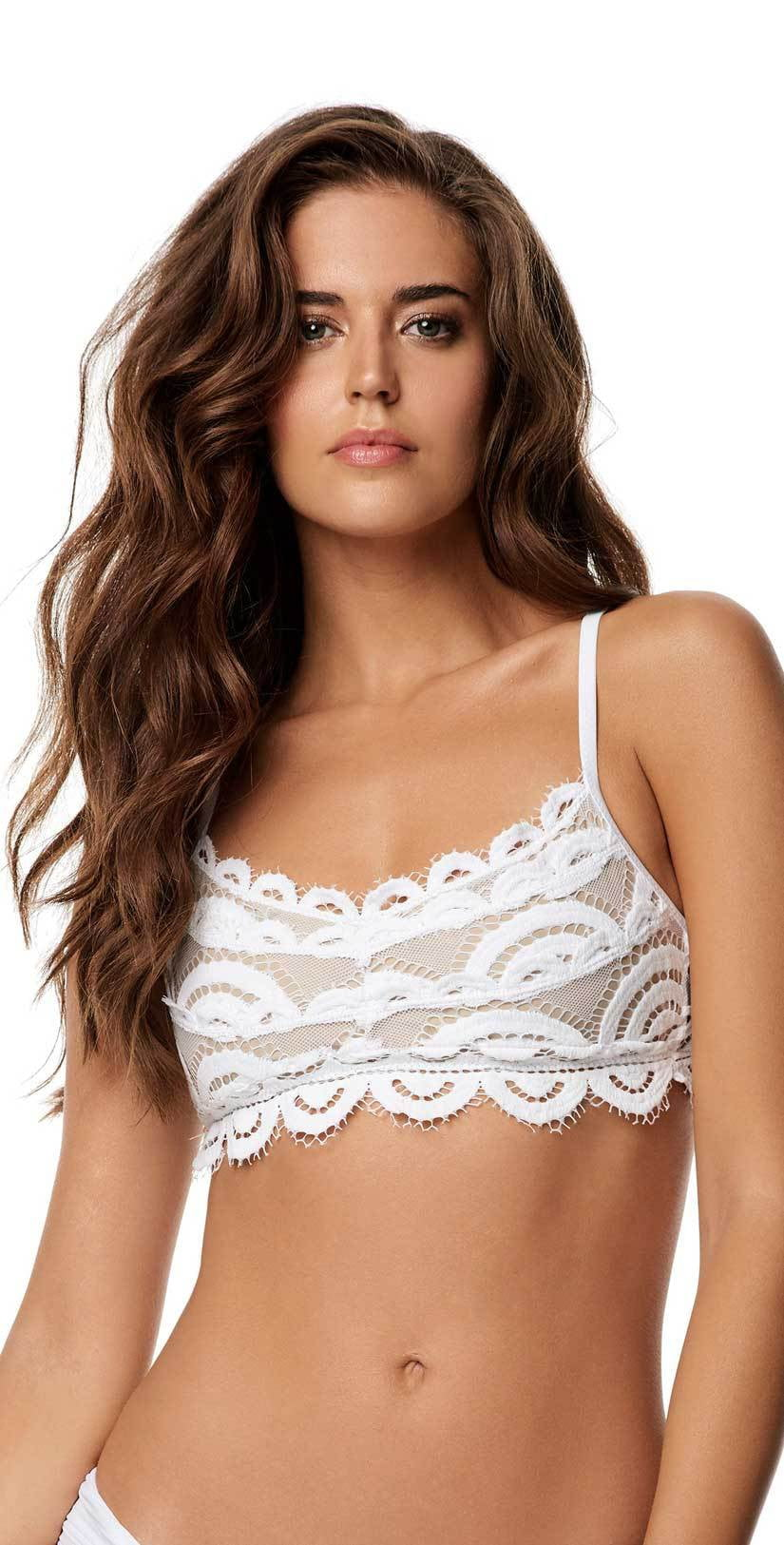 PilyQ Waterlily White Lace Bralette Top WAT-131B front studio