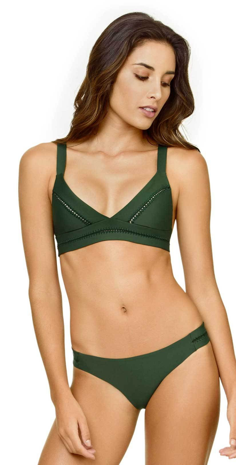 PilyQ Envy Stitched Tab Teeny Cut Bottom in Green: