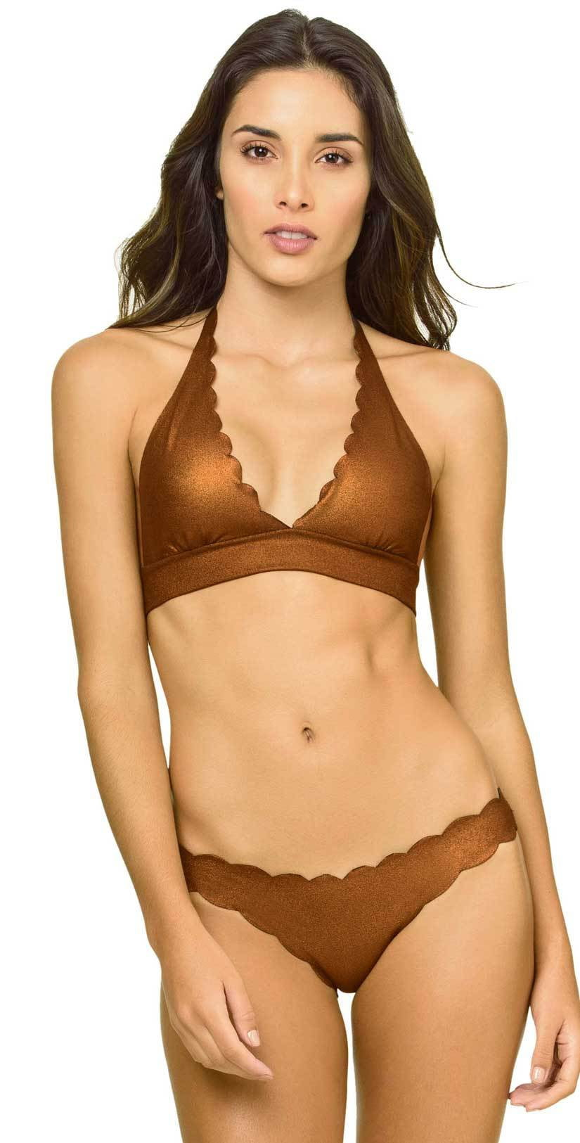 PilyQ Copper Reversible Seamless Wave Halter Bikini Top and Bottom