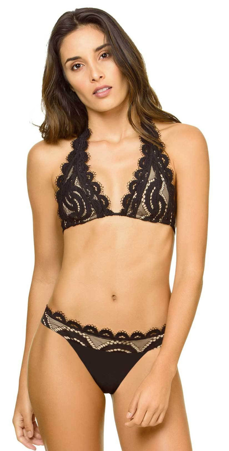 PilyQ Midnight Lace Banded Teeny Bottom front