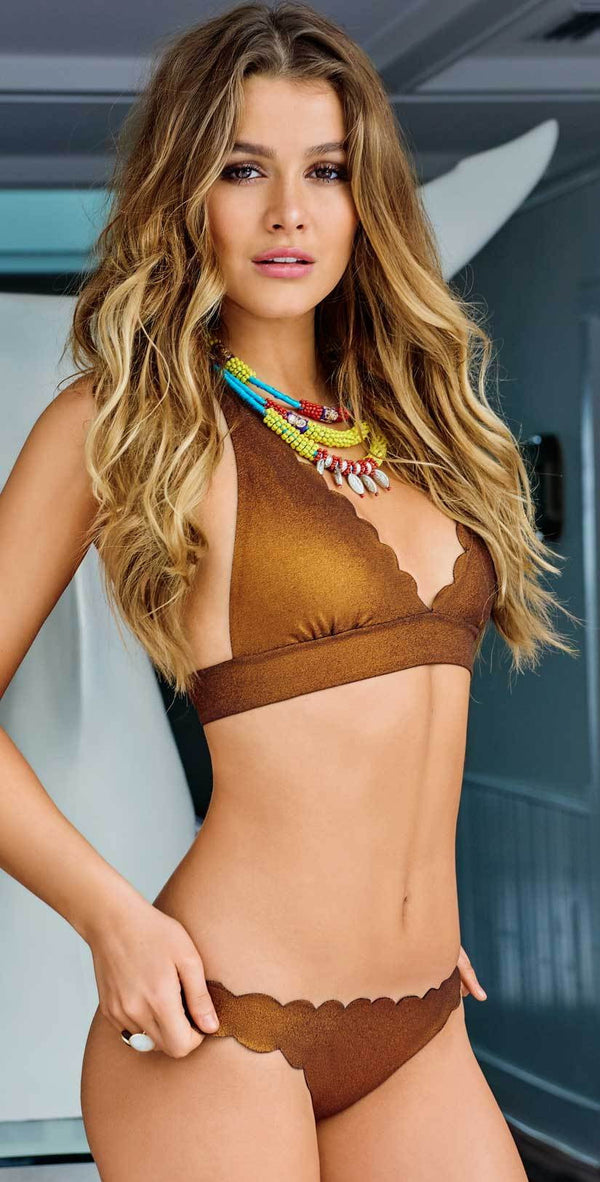 PilyQ Reversible Wave Halter Top in Copper