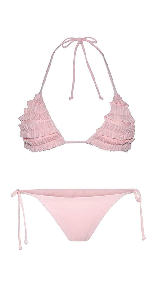 Chloe Rose Bloom Bikini Set In Pink flat lay