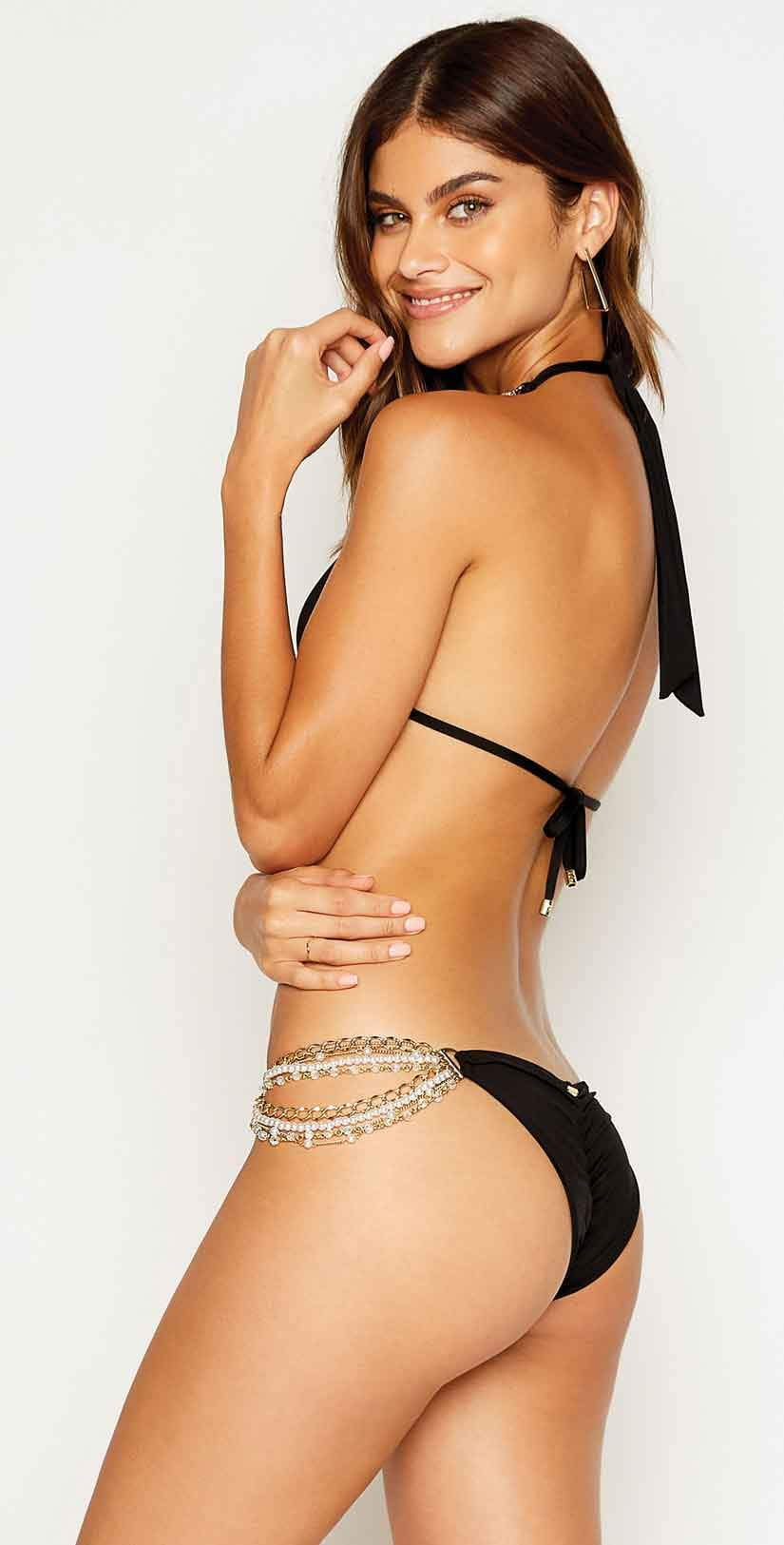 Beach Bunny Pretty In Pearls Skimpy Bottom in Black and Poppy: