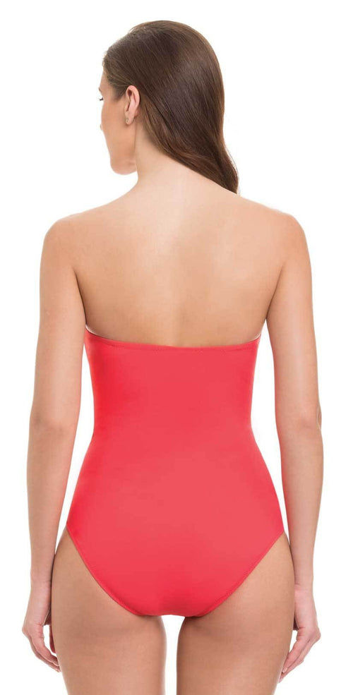 Profile By Gottex Tutti Frutti Cross Bandeau One Piece in D Cup Back View