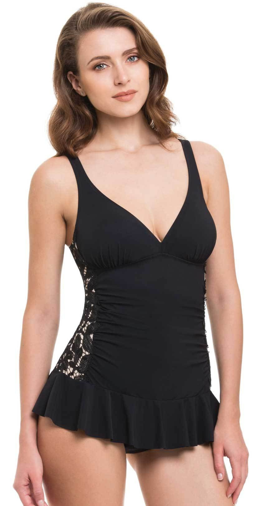 Profile by Gottex Allure Skirted One Piece In Black E846-2D05-001: