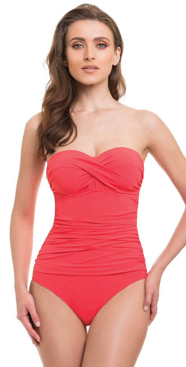 Profile By Gottex Cross Bandeau One Piece in Coral E837-2D04-611
