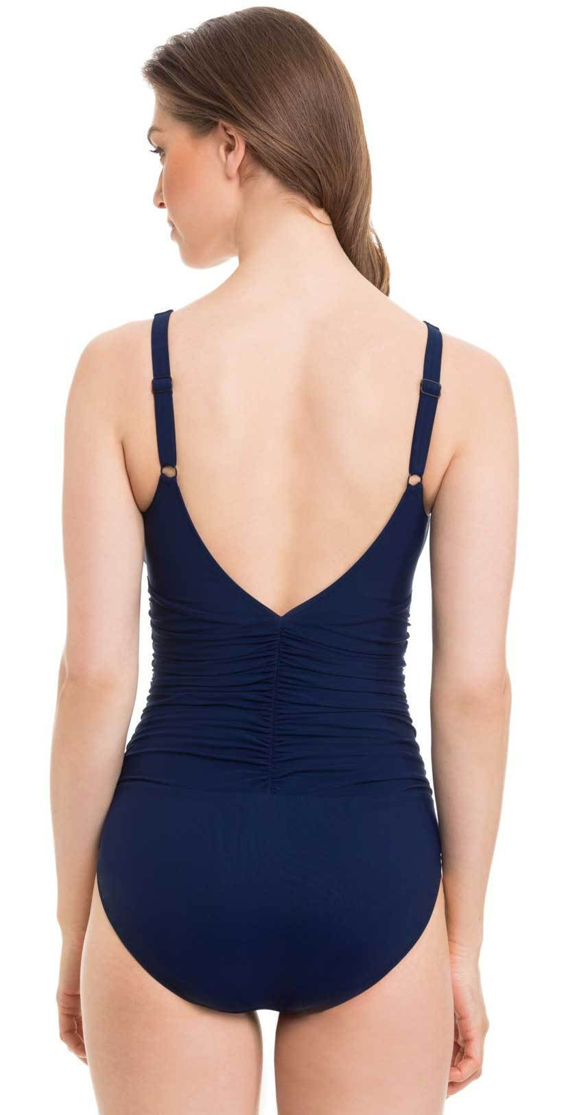 Profile By Gottex Harbor Island V Neck One Piece Swimsuit Back View