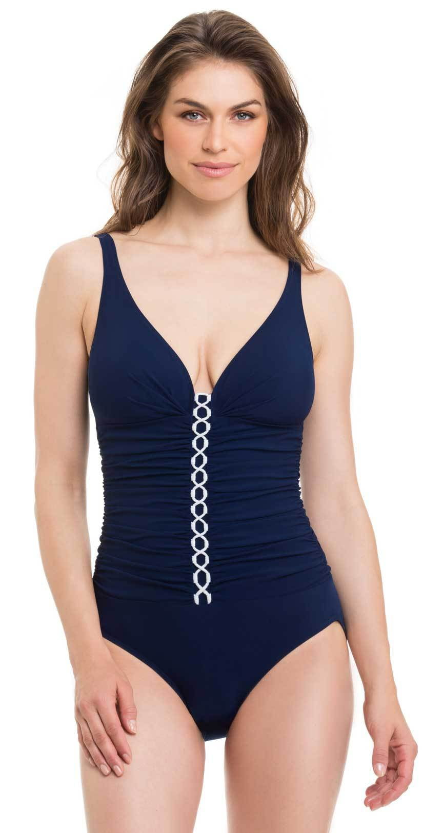 Profile By Gottex Harbor Island V Neck One Piece in D Cup E832-2D31-410