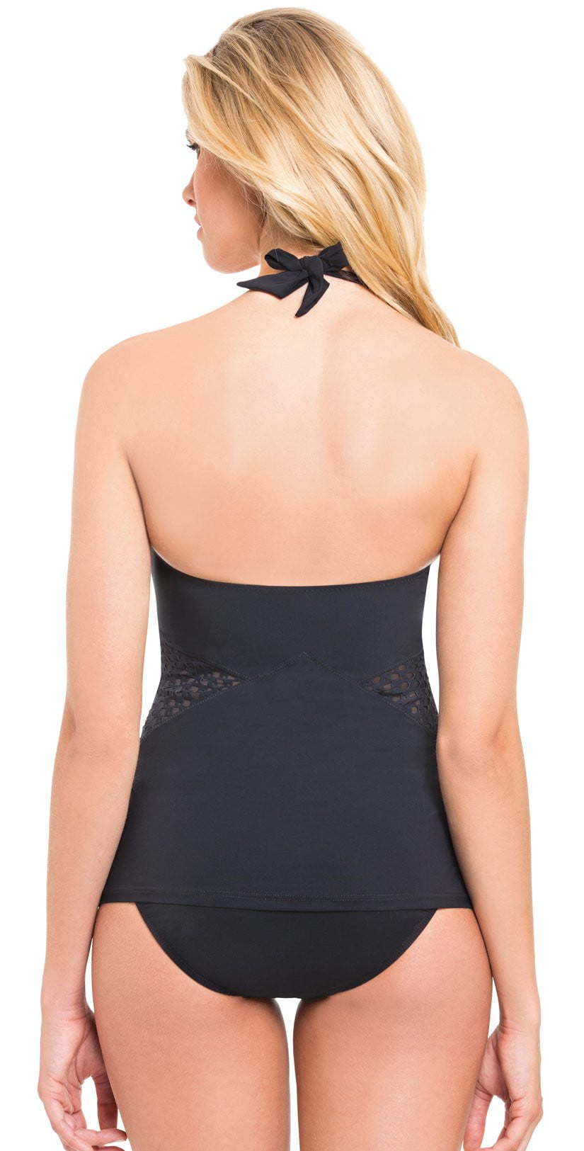 Profile by Gottex Monte Carlo Zip Up Tankini Top in Black E765-1B30-001: