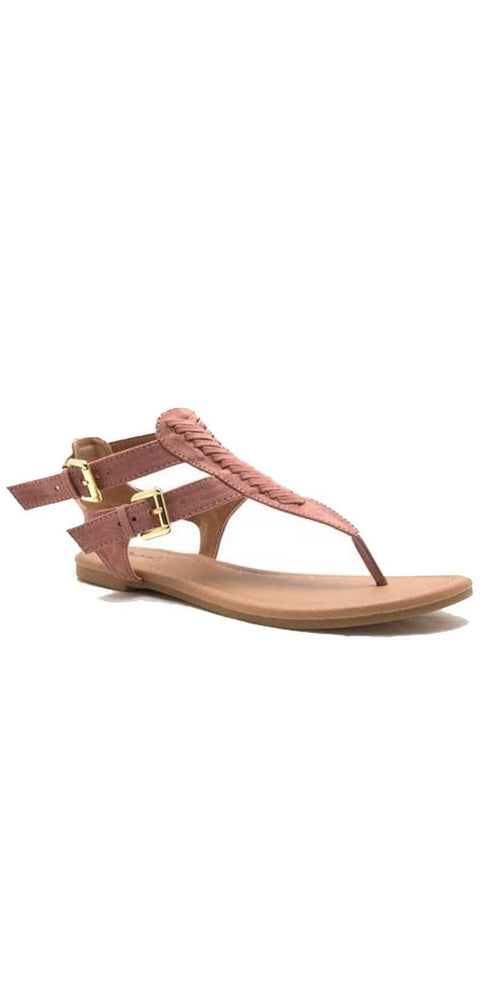 Qupid Shoes Archer Gladiator Thong Sandal In Mauve