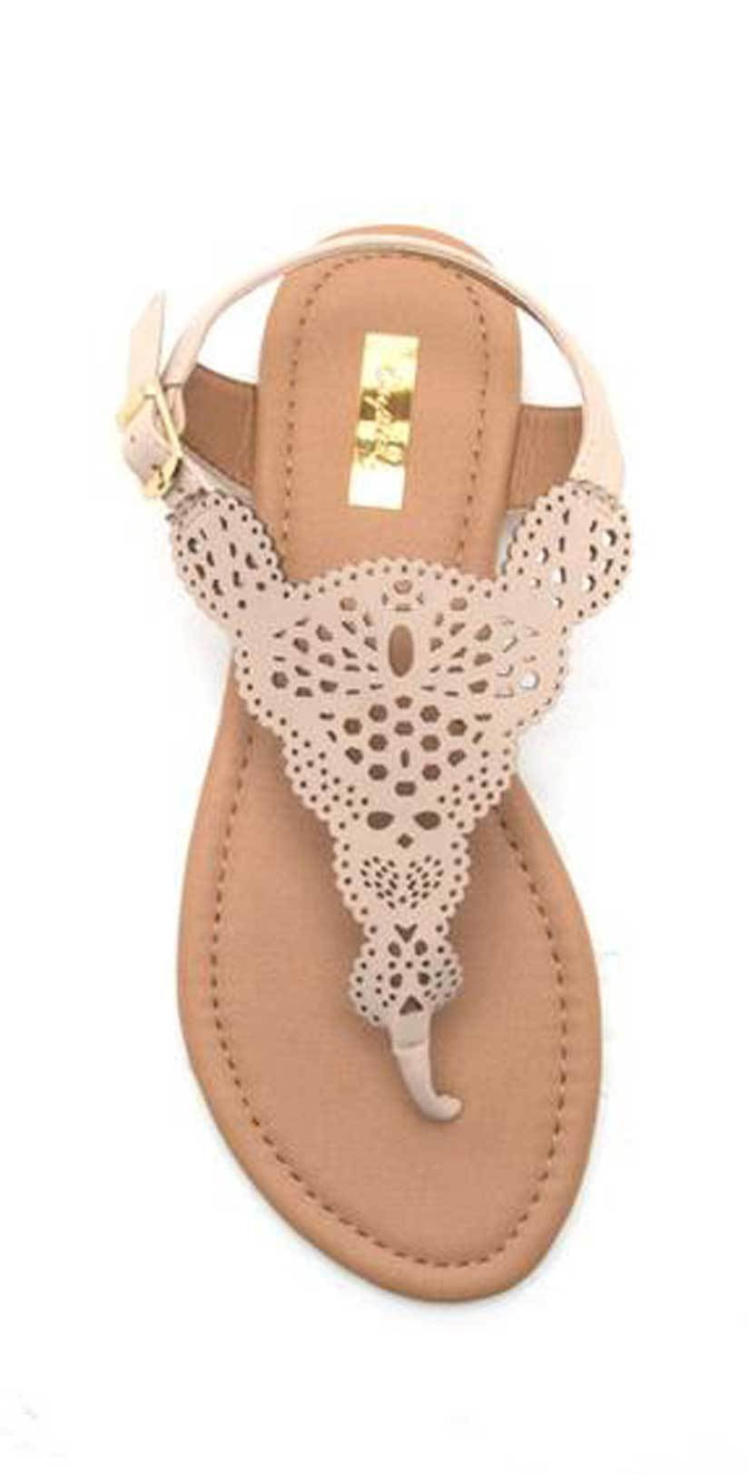 Qupid Shoes Archer Cut Out Sandal in Nude | 2018 | Nude sandal |Cut out Sandal