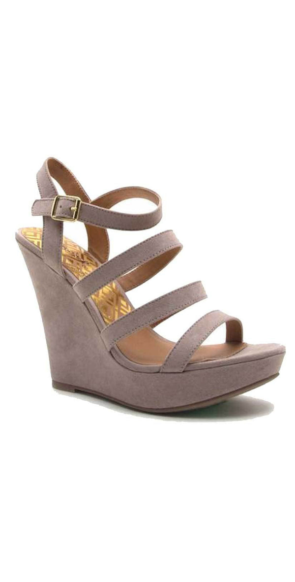 Qupid Shoes Glory Strappy Wedge Sandal in Taupe GLORY-179X TAUPE