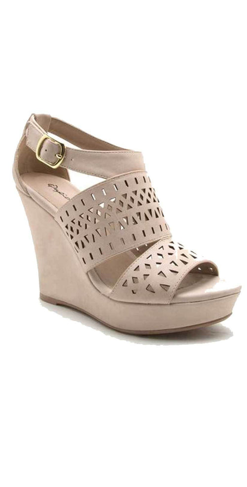 Qupid Shoes Lena Perforated Strappy Wedge in Nude