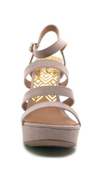 Qupid Shoes Glory Strappy Wedge Sandal in Taupe GLORY-179X TAUPE: