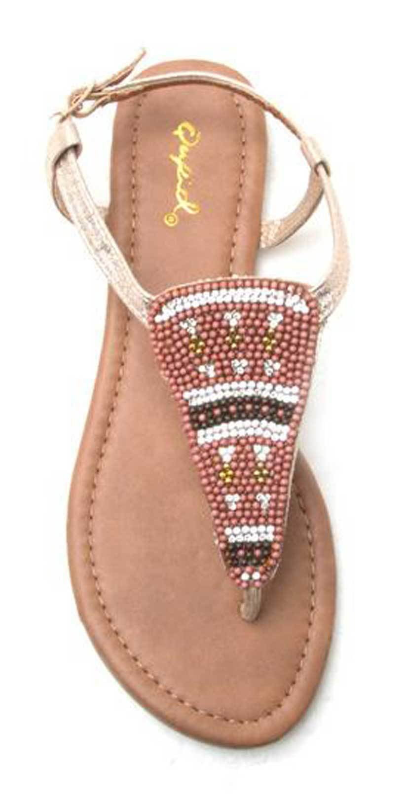 Qupid Shoes Jamilla Embellished T Strap Beaded Sandal