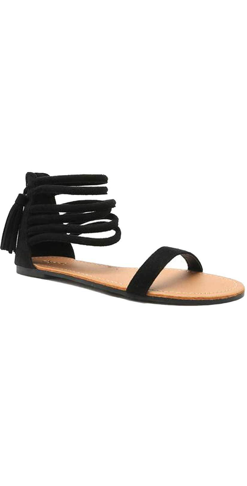 Qupid Shoes Archer Sandal In Black ARCHER-166 Black