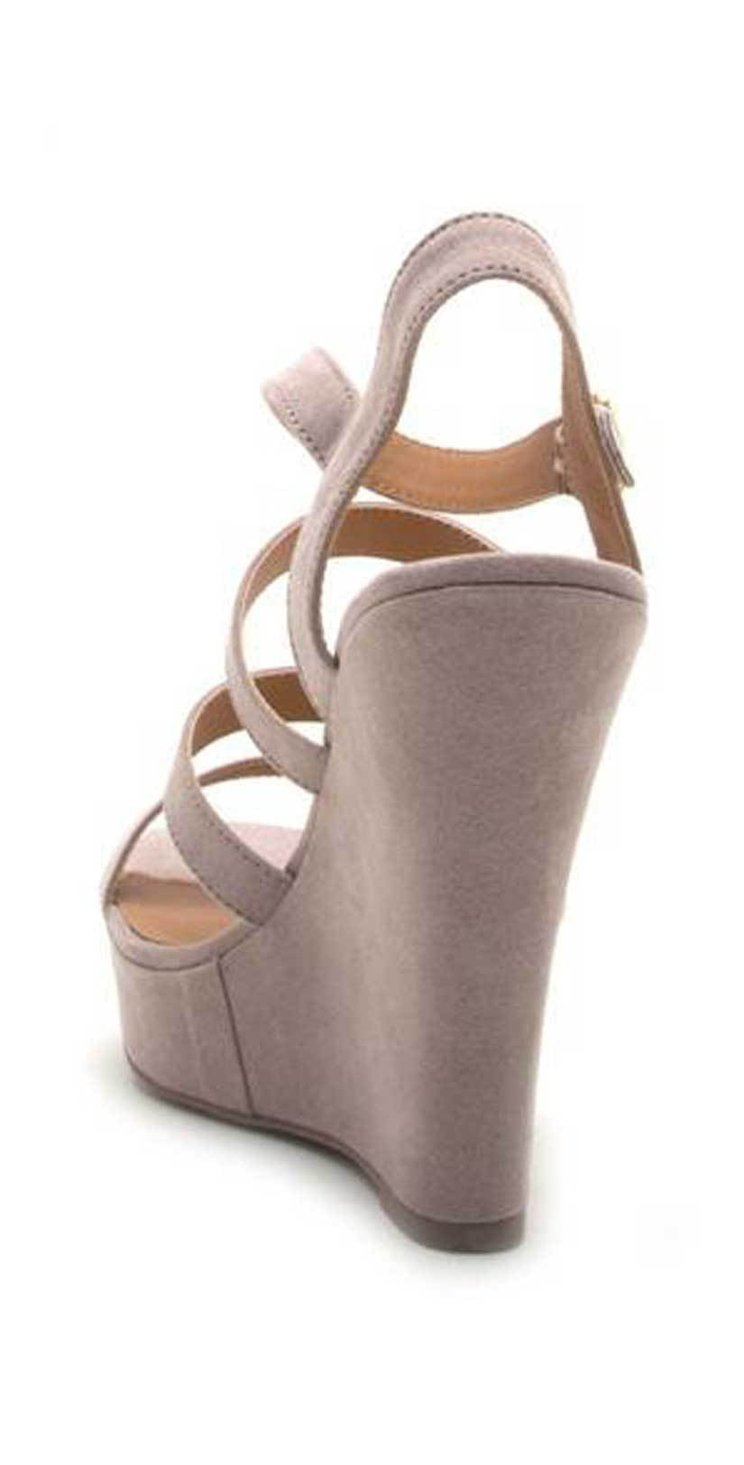 Qupid Shoes Glory Strappy Wedge Sandal in Taupe