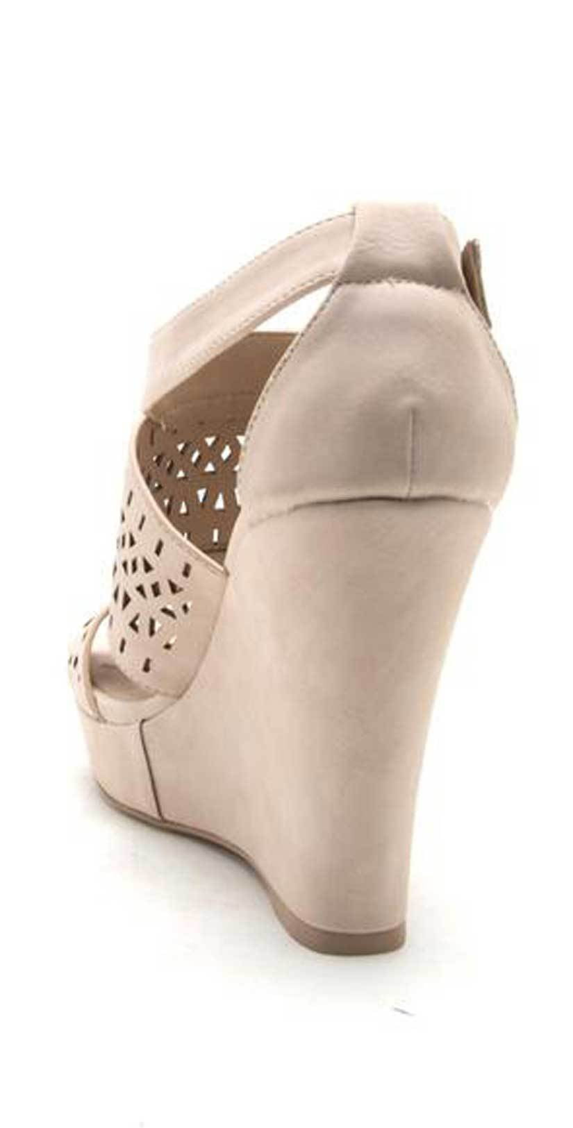 Qupid Shoes Lena Perforated Strappy Wedge in Nude LENA-619 NUDE: