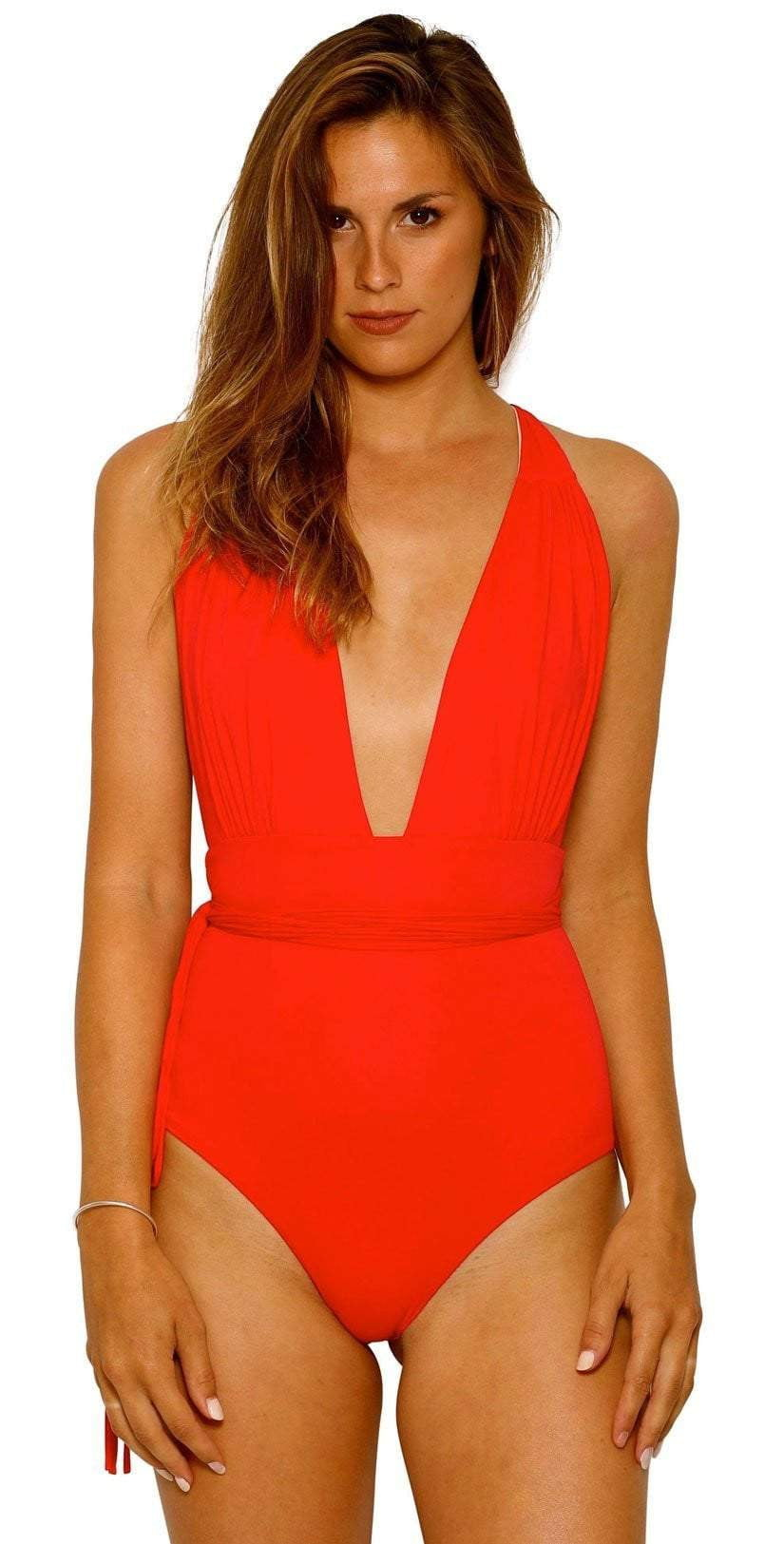 Charmosa Camille Plunge V Neck Reversible One Piece Swimsuit CHMMBR001: