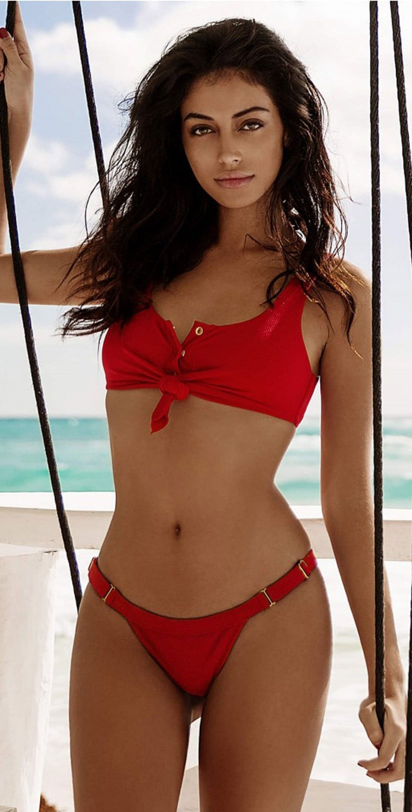 Beach Bunny Rib Tide Skimpy Bottoms In Red B17125B2-REDD front view