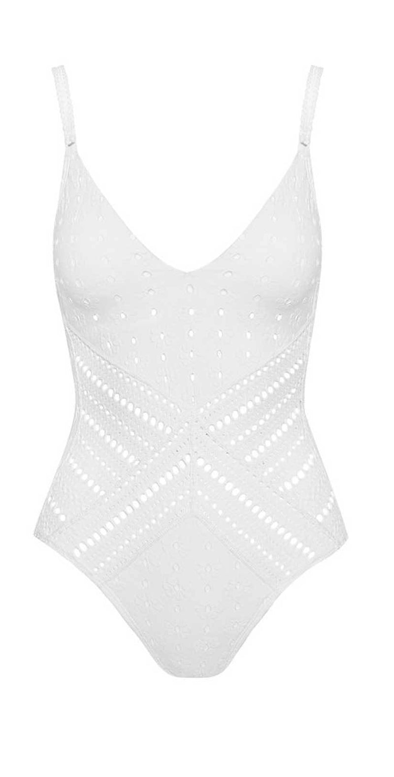 Robin Piccone Clarissa V Neck Crochet One Piece In White 180311-WHT: