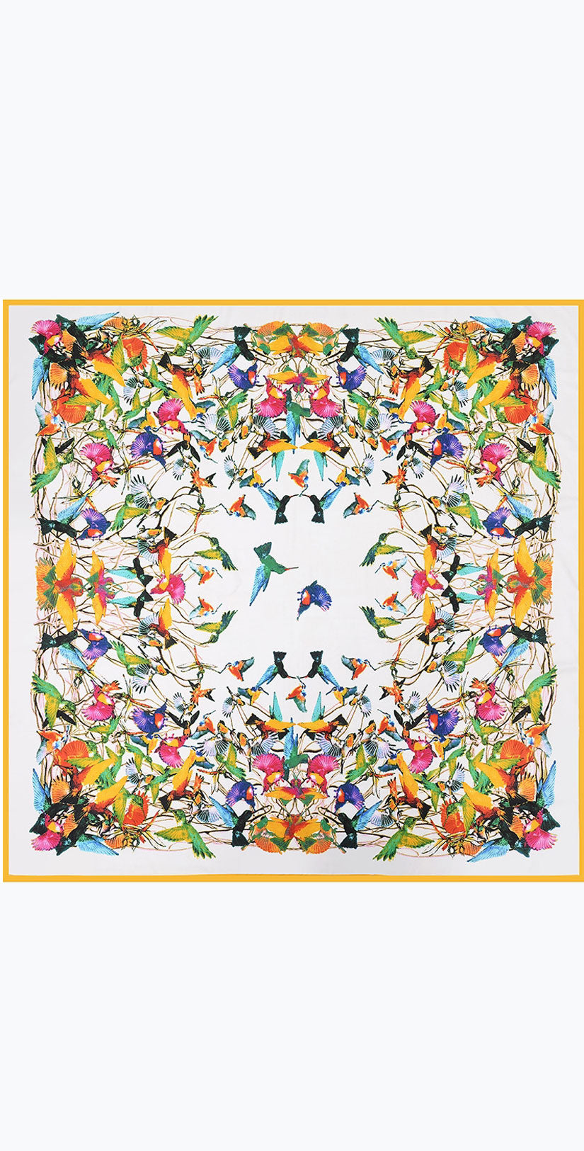 Camaroha Sutra Heavyweight Silk Scarf Birds in  White