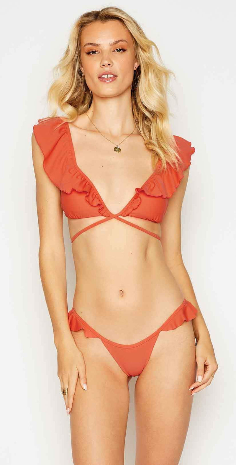 Beach Bunny Scarlette Wrap Bikini Top in Poppy: