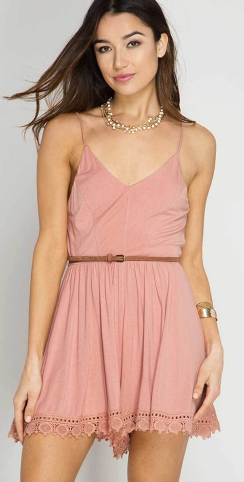 She + Sky Cami Romper with Lace Hem In Dusty Rose SL4120