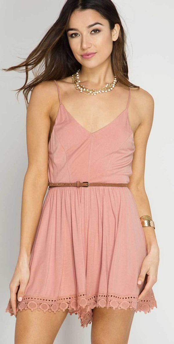She + Sky Cami Romper With Lace Hem Line In Dusty Rose SL4120