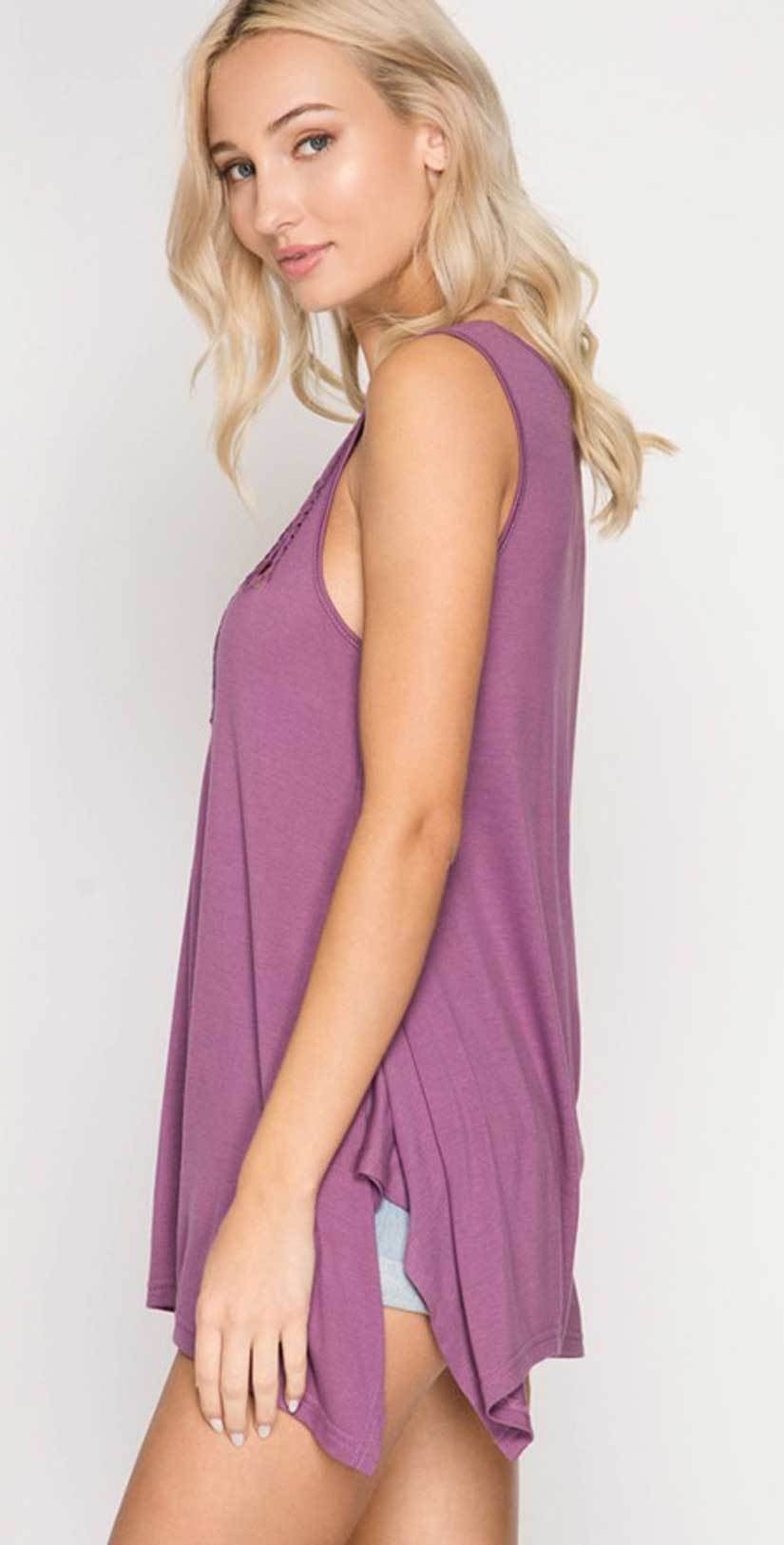 She + Sky Sleeveless Top with Braided Cutout Detail SL5262 side studio
