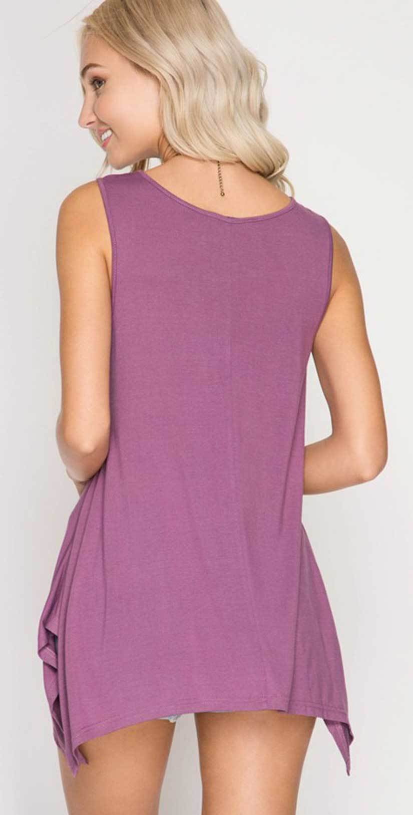 She + Sky Sleeveless Top with Braided Cutout Detail SL5262 back studio