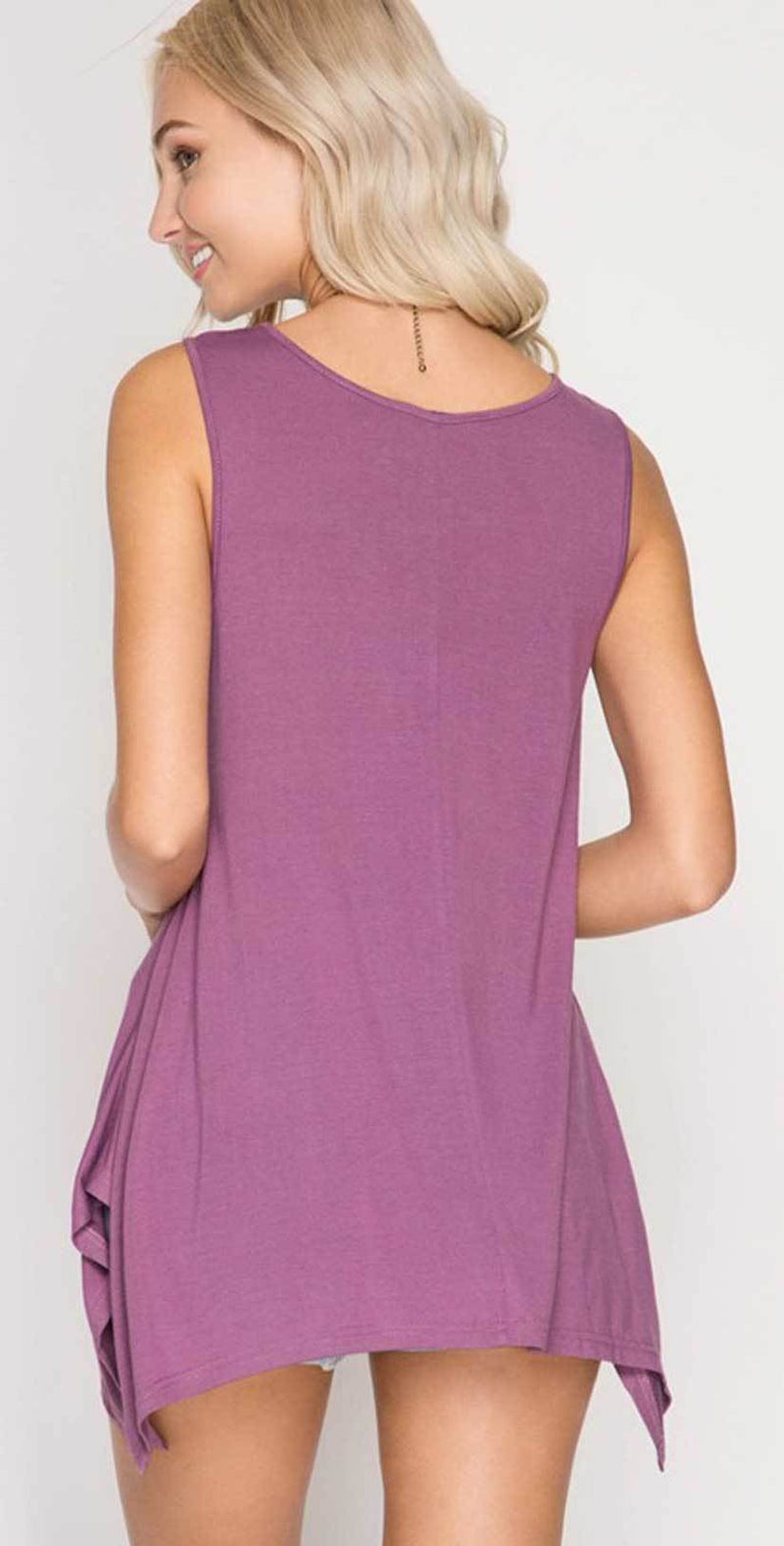She + Sky Sleeveless Top with Braided Cutout Detail SL5262: