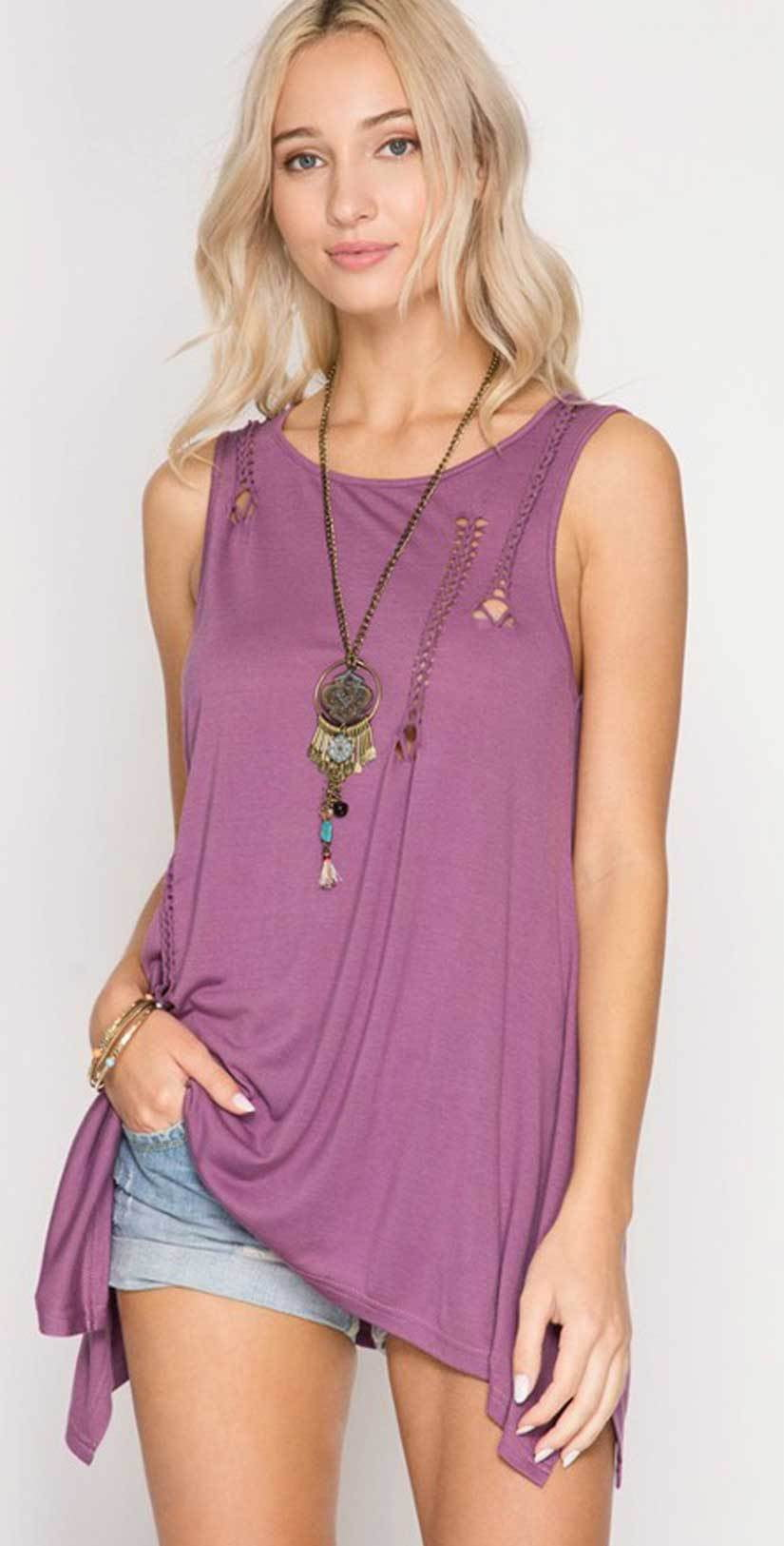 She + Sky Sleeveless Top with Braided Cutout Detail SL5262 front studio