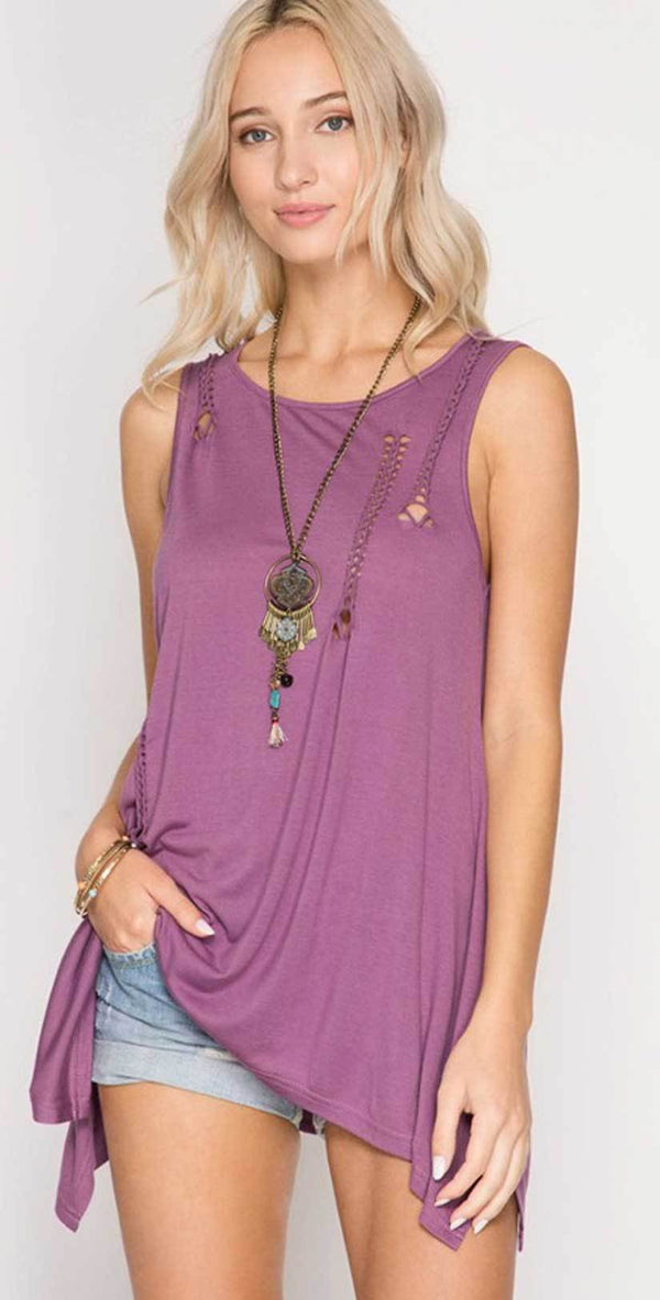 She + Sky Sleeveless Top with Braided Cutout Detail SL5262