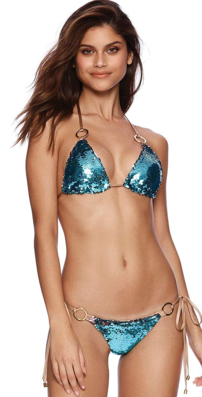 Beach Bunny Siren's Song Tie Side Bottom In Turquoise & Pink G1474B1-TUPK: