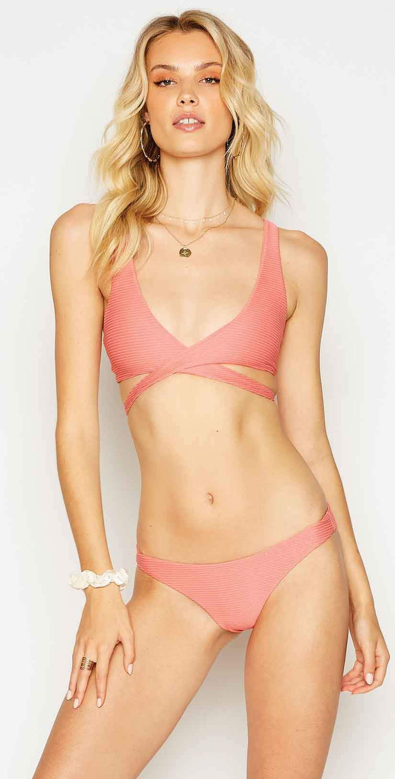 Beach Bunny Skylar Wrap Bikini Top in Rose: