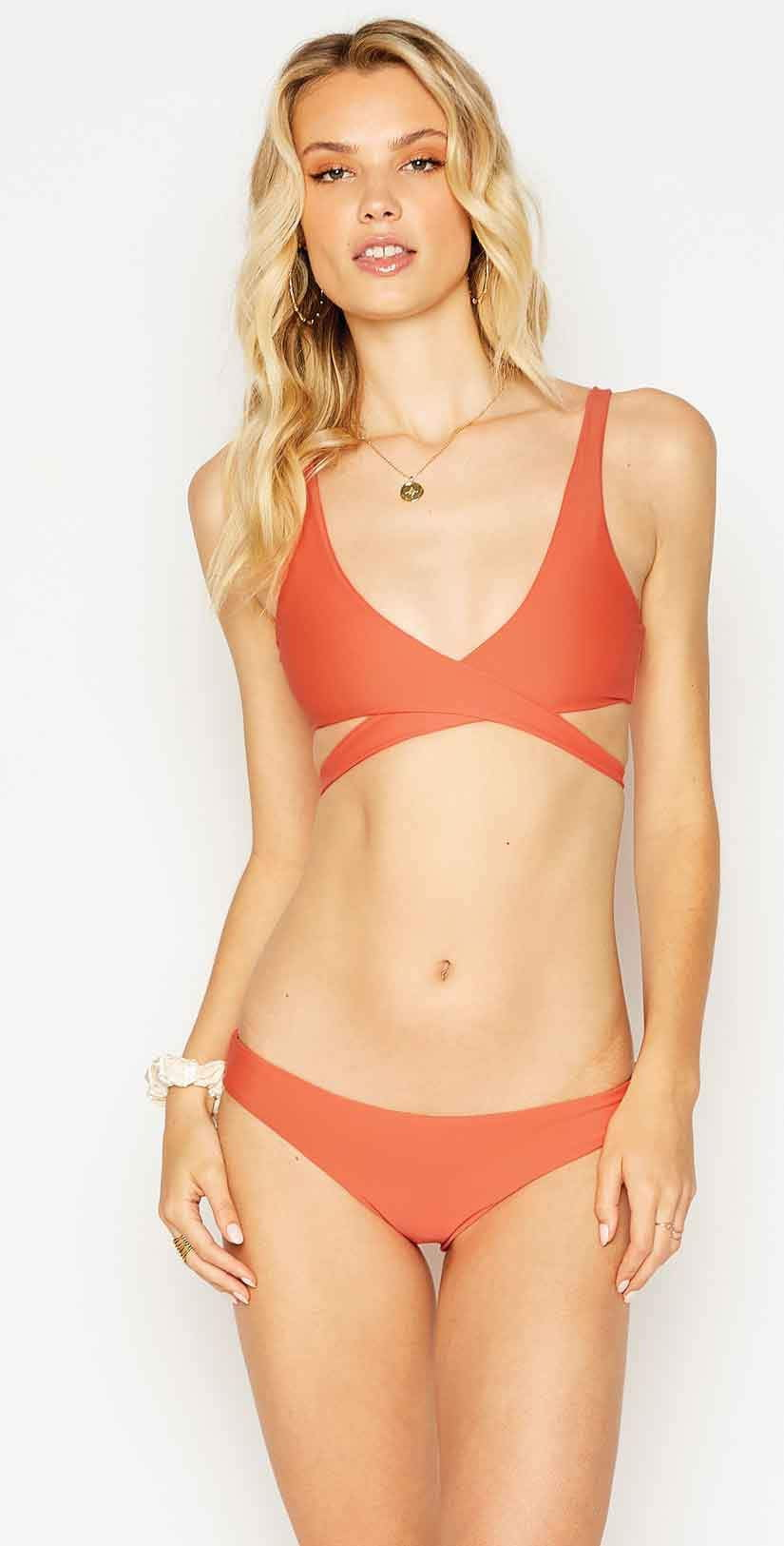 Beach Bunny Skylar Wrap Bikini Top in Poppy: